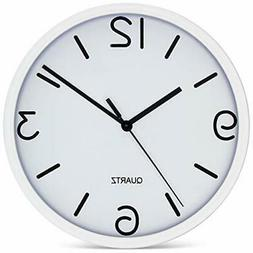 "Bernhard Products White Wall Clock 8"" Silent Non Ticking Qua"