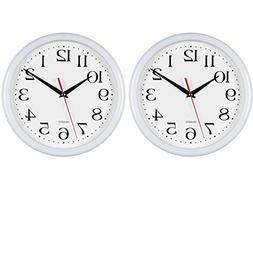 Bernhard Products - White Wall Clocks,10 Inch - Set of 2 Sil