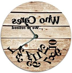 """Sugar Vine Art 10.5"""" WHO Cares We're Retired Funny Clock - F"""