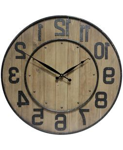 Wine Barrel Wall Clock Large Oversized 24 inches Clock by In