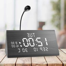 MEKO Wood Digital Alarm Clocks for Bedrooms Larger LED Displ