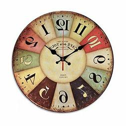 NALAKUVARA 12 Inch Retro Wooden Wall Clock Farmhouse Decor,