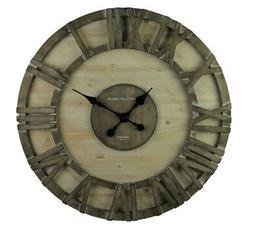Elico Ltd. Modern Rustic Barnwod Oversize Framed Wall Clock