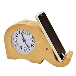ECVISION Wooden Clock Cell phone Stand Small Silent Desk Sno