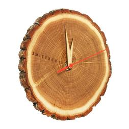 Wooden Round Silent Wall Clock - 7'' Oak Wood with Bark Edge