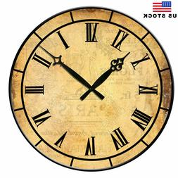 "15"" Large Retro Living Room Wall Clocks Home Decor Antique N"