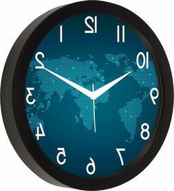World Clock Time Round Plastic Wall Clocks Designer for Home