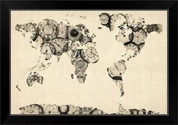 World Map made up of Clocks Black Framed Wall Art Print, Map