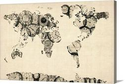 World Map made up of Clocks Canvas Wall Art Print, Map Home