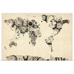 World Map made up of Clocks Poster Art Print, Map Home Decor